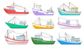 Flat vector set of colorful fishing boats. Water transport. Fishing trawlers. Commercial marine vessels. Collection of colorful fishing boats. Water transport Stock Image