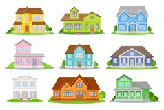 Flat vector set of colorful houses with green meadow, bushes and trees. Cozy residential cottages. Traditional. Cartoon set of colorful houses with green meadow Stock Photography