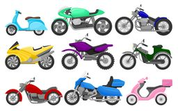 Flat vector set of colorful motorcycles and scooters. Vintage and fast sport bikes. Two-wheeled motor vehicles. Set of colorful motorcycles and scooters. Vintage royalty free illustration