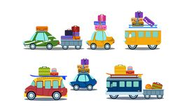 Flat vector set of colorful vehicles with luggage on roof. Vans, cars and bus with trailer. Travel and road trip theme. Set of colorful vehicles with luggage on vector illustration