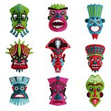 Flat vector set of colorful Zulu masks with ornaments. Traditional symbols of indigenous people, African tribes. Collection of colorful Zulu masks with ornaments Royalty Free Stock Photo