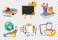 Flat vector set of compositions with objects related to education theme. Back to school stock illustration