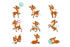 Flat vector set of cute fawn in different actions. Cartoon character of little deer. Adorable forest animal. Graphic stock illustration