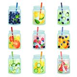 Flat vector set of delicious detox drinks with various ingredients. Refreshing fruit water. Natural and healthy. Collection of delicious detox drinks with Stock Images