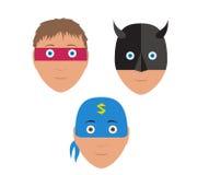 Flat vector set design of cartoon halloween mask Royalty Free Stock Image
