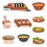 Flat vector set of different Asian dishes. Sushi, bowls with soups and noodle, shrimp dumplings and rice balls. Food. Set of different Asian dishes. Sushi, bowls stock illustration