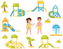 Flat vector set of different children s water slides. Aqua park equipment. Kids in swimming suits royalty free illustration