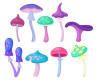 Flat vector set of different magic mushrooms. Forest plant. Elements for children fairy tale book or fantasy mobile game. Collection of different magic mushrooms vector illustration