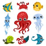 Flat vector set of different ocean animals. Marine creatures with shiny eyes. Fish, octopus, sea snail, jellyfish, squid. Set of different ocean animals. Cute vector illustration