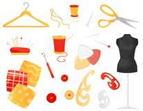 Flat vector set of different sewing items. Dressmaking and needlework accessories. Tailoring equipment and materials vector illustration