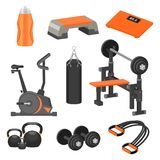 Flat vector set of different sport items and exercise equipment. Healthy lifestyle theme. Elements for advertising. Set of different sport items and exercise stock illustration