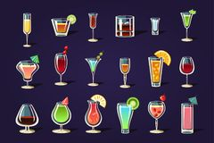Flat vector set with different transparent glasses and cocktails. Refreshing summer drinks. Tasty alcoholic beverages. Cartoon vector set with different stock illustration