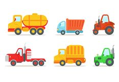 Flat vector set of different types of vehicles. Semi trailer, tractors, lorry, truck with tank. Transport or car theme. Collection of different types of vehicles stock illustration