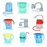 Flat vector set of different water filters. Metal kitchen faucets with purifiers. Glass jugs with filter cartridges royalty free illustration