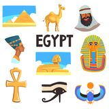 Flat vector set of Egyptian culture elements. Pyramids, camel, man in keffiyeh, Tutankhamen and Nefertiti, Great Sphinx. Set of Egyptian culture elements Stock Images