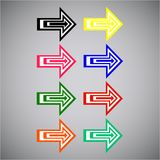 Flat Vector: Set of eight simple multi-colored arrows. Stock Image