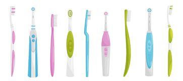 Flat vector set of electric and manual toothbrushes. Personal items for cleaning teeth. Health and oral hygiene theme royalty free illustration