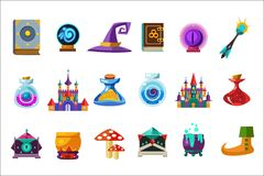 Flat vector set of fabulous items for mobile game. Book, magic ball, wizard hat, bottles with elixirs, castle, cauldrons. Flat vector set of fabulous items for Stock Photos