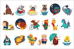 Flat vector set of fairy animals in different actions. Cute cartoon characters. Colorful design for children book, print. Set of fairy forest and domestic Stock Image