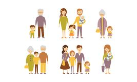 Flat vector set of families. Parents with kids, grandmothers and grandfathers with grandchildren. Cartoon people Royalty Free Stock Photo