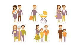 Flat vector set of family portraits. Parents with newborn, mother with son, man with baby, young couple Royalty Free Stock Photos