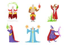 Flat vector set of fantasy wizards from children fairy tales. Old gray-bearded men s in different actions. Set of fantasy wizards from children fairy tales. Old Royalty Free Stock Image