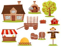 Flat vector set of farm icons. Small house, wood-fired oven, fruit tree, pile of hay, market stall. Set of icons related to farm theme. Small house, wood-fired stock illustration