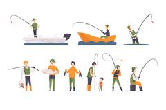 Flat vector set of fishing people with fish and equipment. Fishermen in boats with fishing rods. Outdoor activity. Collection of fishing people with fish and royalty free illustration