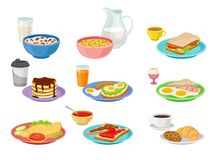 Flat vector set of food and drink icons. Tasty breakfast. Appetizing morning meal. Nutrition theme. Collection of food and drink icons. Tasty breakfast stock illustration