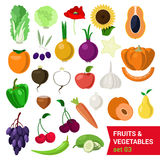 Flat vector set of food: fruit and vegetable, olive pear apple Stock Photography