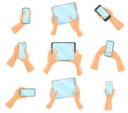 Flat vector set of human hands with smartphones and tablet computers. Electronic gadgets. Digital devices stock illustration