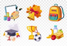 Flat vector set of icons related to school theme. Drawing lessons items, bell and backpack, square hat and diploma vector illustration