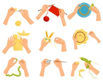 Flat vector set of icons showing different hobbies. Hands doing handmade crafts. Knitting, decorating, painting, sewing. Set of icons showing different hobbies royalty free illustration