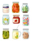 Flat vector set of jars with different objects. Canned vegetables, cookies and candies, jam, fish and grass, detox water. Set of transparent jars with different Vector Illustration
