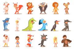 Flat vector set of kids in carnival costumes cow, squirrel, tiger, bat, lion, mouse, shark, hare, crocodile, octopus royalty free illustration