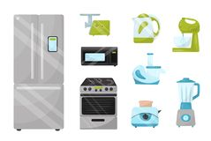 Flat vector set of kitchen electronic appliances. Household items. Elements for advertising poster of home goods store royalty free illustration