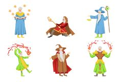 Flat vector set of magicians in different actions. Old gray-bearded wizards. Cartoon characters with magical powers. Set of magicians in different actions. Old Stock Photo