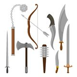 Flat vector set of medieval weapon. Viking battle axe and maces, bow with arrow, knight swords stock illustration
