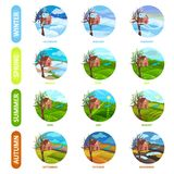 Flat vector set of 12 months of the year. Winter, spring, summer and autumn season. Nature landscape. Elements for stock illustration