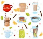 Flat vector set of mugs with tasty drinks. Delicious beverages. Coffee, hot chocolate, tea and mulled wine stock illustration