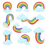 Flat vector set of multicolored rainbows with blue fluffy clouds. Decorative wall stickers for children room. Collection of multicolored rainbows with blue royalty free illustration