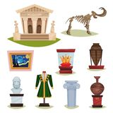 Flat vector set of museum exhibits. Mammoth skeleton, ceramic vases, clothes, golden crown, famous painting and column. Collection of different museum exhibits stock illustration