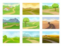 Flat vector set of natural landscapes with road, green meadows, houses and mountains. Outdoor scenery vector illustration