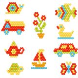 Flat vector set of objects made of colorful plastic mosaic car, fish, duck, butterfly, flower . Kids game. Children. Collection of objects made of colorful vector illustration
