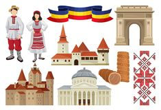 Flat Vector Set Of Cultural Symbols Of Romania. Food, Historic Architecture, Ribbon In Color Of Romanian Tricolor Royalty Free Stock Image