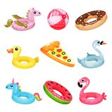 Flat Vector Set Of Inflatable Swimming Accessories. Rubber Ball. Rings In Various Shapes Pegasus, Donut, Swan, Duck Stock Photo