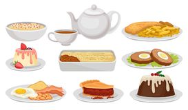 Flat Vector Set Of Traditional English Food. Tasty Dishes, Desserts And Tea. British Cuisine. Elements For Recipe Book Stock Photos