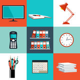 Flat vector set of office things Royalty Free Stock Images