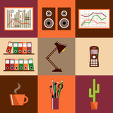 Flat vector set of office things Royalty Free Stock Image