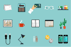 Flat vector set of office things Stock Photo